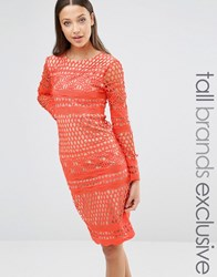 True Decadence Tall Long Sleeve All Over Graphic Lace Midi Dress Orangenude