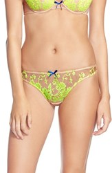 Women's Heidi Klum Intimates 'Sun Kissed' Embroidered Thong Shifting Sand Neon Yellow