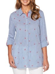 Rafaella Petite Embroidered Striped Button Down Shirt Yacht Blue