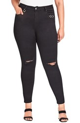 City Chic Plus Size Harley Riveted Ripped Skinny Jeans Black