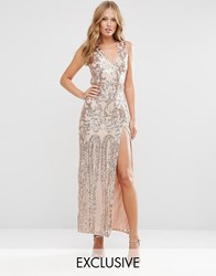 Club L Patterned Sequin Maxi Dress With Fishtail Rosegold Sequin On N
