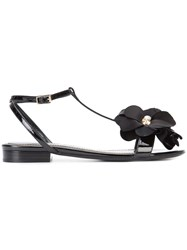 Lanvin Flower Embellished Sandal Women Leather Patent Leather 40 Black