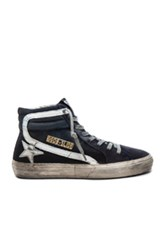 Golden Goose Canvas Slide Sneakers In Blue
