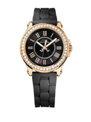 Juicy Couture Ladies Pedigree Goldtone And Silicone Watch Black