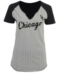 Majestic Women's Chicago White Sox From The Stretch Pinstripe T Shirt Gray Black
