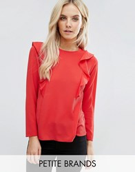 New Look Petite Frill Detail Blouse Bright Red