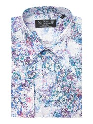 New And Lingwood Milton Floral Print Shirt Purple