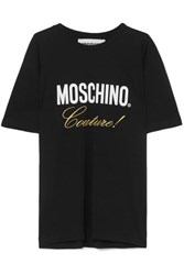 Moschino Embroidered Printed Cotton Jersey T Shirt Black