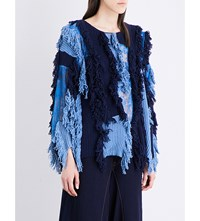 Koche Fringed Knitted Cotton Jumper Blue Navy