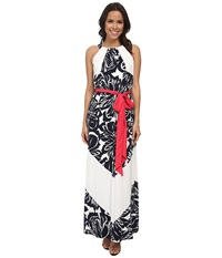 Vince Camuto Halter Blouson Maxi W Color Block Sash Navy Ivory Women's Dress Blue