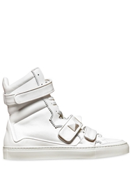 Giacomorelli Rubberized Leather High Top Sneakers White