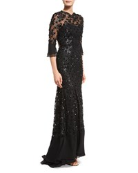 Jenny Packham Sequin Embellished Open Back Gown Black