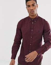 French Connection Oxford Button Down Logo Shirt Red