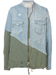 Greg Lauren Denim Panelled Shirt Green