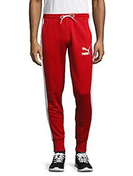 Puma Solid Cotton Blend Pants Red
