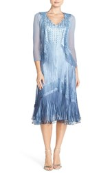 Petite Women's Komarov Ombre Charmeuse Dress And Chiffon Jacket