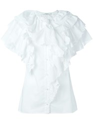 Givenchy Broderie Anglaise Trim Ruffle Top White