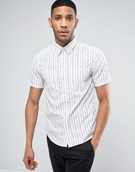 Casual Friday Short Sleeved Shirt In Pinstripe 50104 Bright White