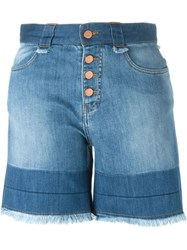 See By Chloe See By Chloe Fringed Denim Shorts Blue