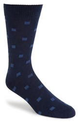 Men's Etiquette Clothiers 'Indigo Pixel' Check Socks Blue Navy