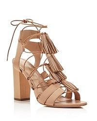 Loeffler Randall Luz Tasseled Lace Up High Heel Sandals Wheat