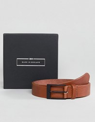 Asos Made In England Smart Slim Belt In Tan Leather