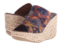 Blowfish Drapey Rust Mecca Print Fabric Women's Wedge Shoes Navy