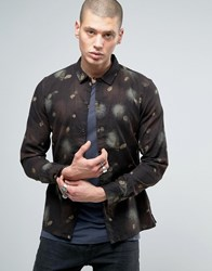 Allsaints Shirt In Slim Fit With All Over Feather Print Washed Black