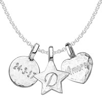 Dower And Hall Engravable Disc Star Heart Pendant Necklace Silver