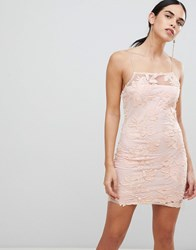 Ax Paris Blush Floral Mesh Embroidered Bodycon Dress Pink
