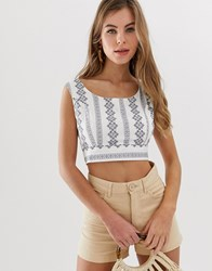 Parisian Embroidered Cropped Blouse White