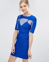 Forever Unique Anousha Short Sleeve Bandage Dress With Mesh Inserts Blue