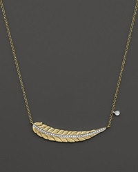 Meira T 14K Yellow Gold Curved Leaf Necklace With Diamonds 16