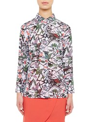 Ted Baker Colour By Numbers Lupia Peter Pan Collar Floral Print Shirt Grey