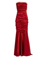 Dolce And Gabbana Ruched Strapless Silk Blend Satin Gown Red