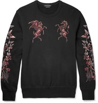 Alexander Mcqueen Embroidered Cotton Jersey Sweatshirt Black