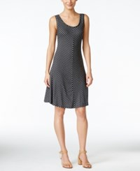 Styleandco. Style And Co. Chevron Striped A Line Dress Only At Macy's Quarter Stripe Black