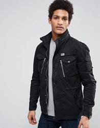 Schott Squad Miltary Overshirt Jacket Concealed Hood In Black Black