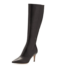 Gianvito Rossi Pointy Low Heel Knee Boot Black