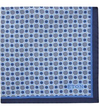 Eton Polka Dot Silk Pocket Square Blue