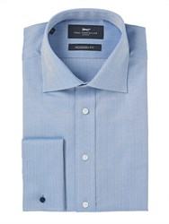 Paul Costelloe Modern Blue Herringbone Plain Shirt