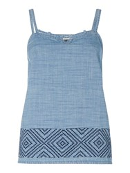 Maison De Nimes Denim Embroidered Cami Blue