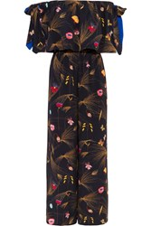 Fendi Off The Shoulder Printed Cady Jumpsuit Black