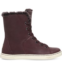 Ugg Croft Lace Up Leather Boots Dark Brown