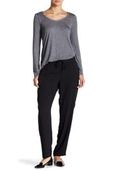 Joe Fresh Faux Leather Trim Crepe Pant Black