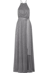 Halston Heritage Metallic Ribbed Knit Gown Silver