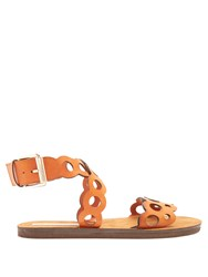 Stella Mccartney Laser Cut Faux Leather Sandals Tan