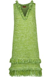 Missoni Metallic Fringed Crochet Knit Dress Bright Green