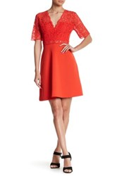Alexia Admor Deep V Fit And Flare Lace Dress Red