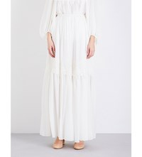 Chloe Floral Embroidered Silk Maxi Skirt Wht